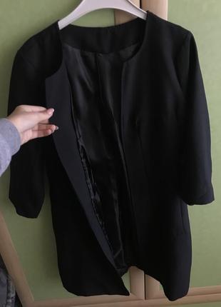 Чёрный длинный жакет/пиджак