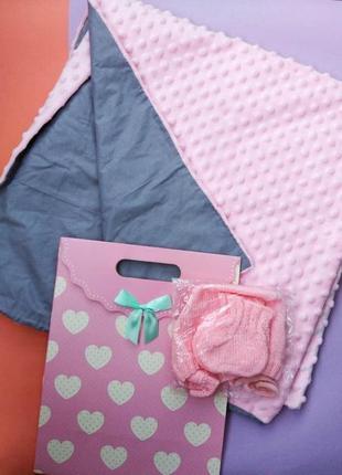 Детский для новорожденных подарочный набор плюшевый плед шапочка