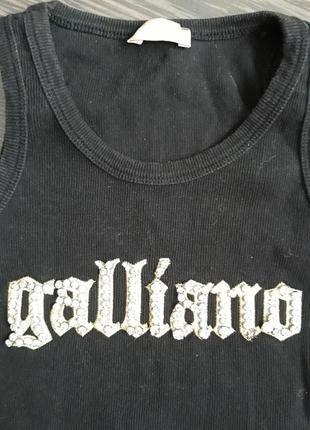 Майка galliano в мелкий рубчик, размер xs