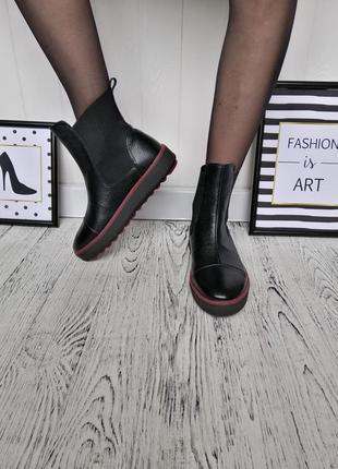 Натуральные высокие слипоны ботинки полусапожки3