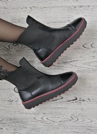 Натуральные высокие слипоны ботинки полусапожки4