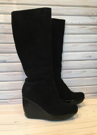 Сапоги зимние женские замшевые, чёрные, на платформе kelton