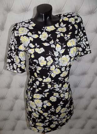 Плотная ткань, базовое платье футляр, очень красивый цветочный принт3