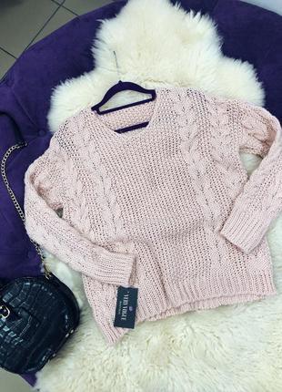 Стильный свитер косичка в наличии цвета италия черный пудровый коричневый