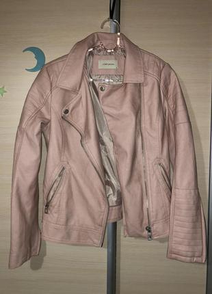 Кожаная куртка розовая (эко кожа или кожзам, не настоящая)