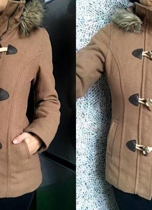 Бежевое пальто дафлкот парка h&m logg с капюшоном скидка !