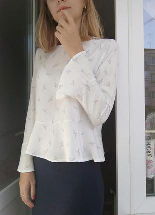 Блуза рубашка необычная баска белая фламинго спинка принит животное розовый atmosphere