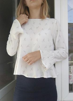 Блуза рубашка необычная баска белая фламинго спинка принит животное розовый atmosphere2 фото