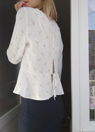Блуза рубашка необычная баска белая фламинго спинка принит животное розовый atmosphere3 фото