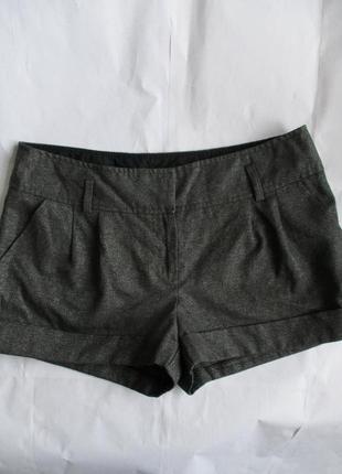 Короткие серые шорты с серебристой нитью new look