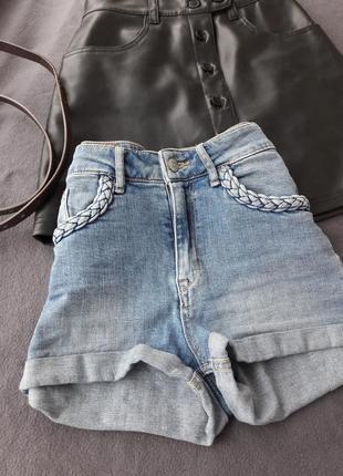 Шорты джинсовые короткие с высокой посадкой размер xs