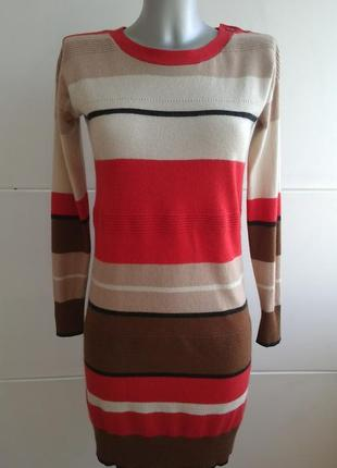 Теплое платье дорогого бренда hobbs с цветочными полосами