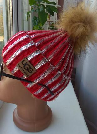 Новая шапка фольга, металлик (га флисе) красная