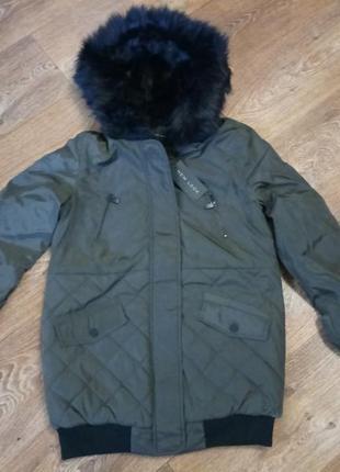 Шикарная куртка парка цвета хаки
