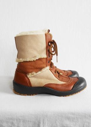 Зимние кожаные ботинки овчина