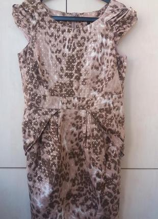 Платье леопард в золотой горошек
