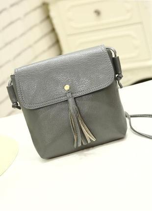 Удобная практичная сумочка через плечо, серая