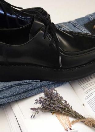 Кожаные ботинки - лоферы на платформе bronx