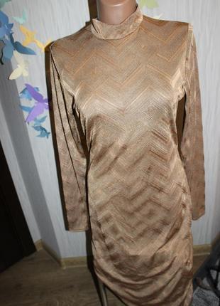 Интересное золотисто-коричневое платье-миди р14/хl