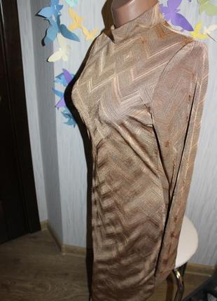 Интересное золотисто-коричневое платье-миди р14/хl3