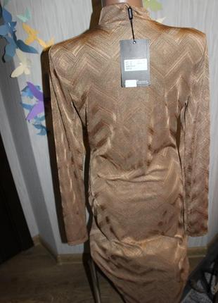 Интересное золотисто-коричневое платье-миди р14/хl4