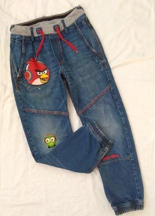 Крутые джинсы, 10-11 лет, angry birds, злые птички, злые птицы, джинсовые брюки, джоггеры