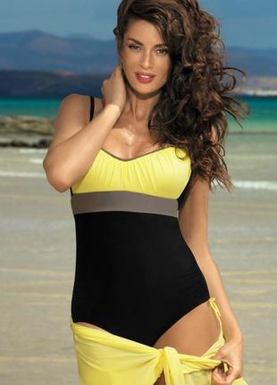 Whitney marko сдельный купальник черный с желтым с твердыми чашками пушап открытая спина