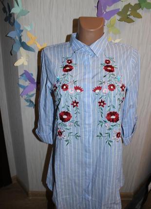 Стильная рубашка-платье с вышивкой4