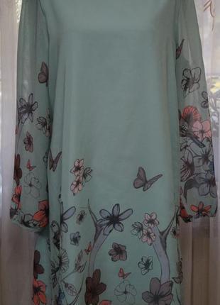 Длинная шифоновая блуза туника мятного цвета в красивый прит