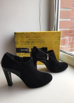 Замшевые туфли на каблуке 39р.