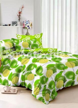 Комплект постельного белья из сатина лайм, полуторный