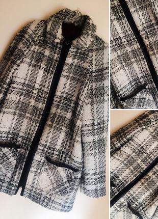 Пальто вставки эко кожа