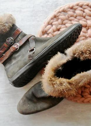Ботиночки кожаные замшевые натуральные kroon utrecht хаки с мехом