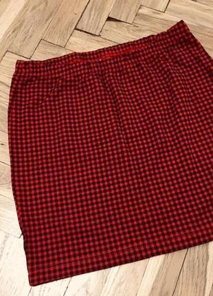 Новая мини юбка в клетку юбочка в клеточку красная