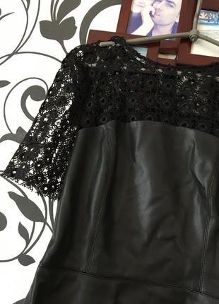 Кожаное платье с ажуром