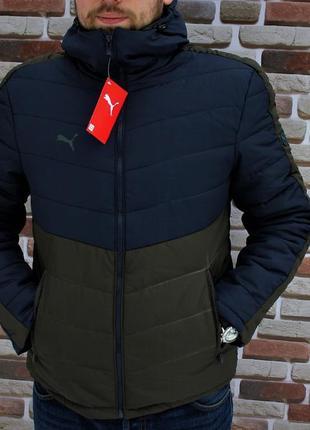 Отличная мужская осенняя куртка puma синяя с коричневым Puma, цена ... 753bdb64049