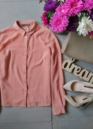 Актуальная пудровая блуза с кружевной спинкой №71