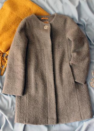 Зимове пальто / шерстяное пальто-кокон