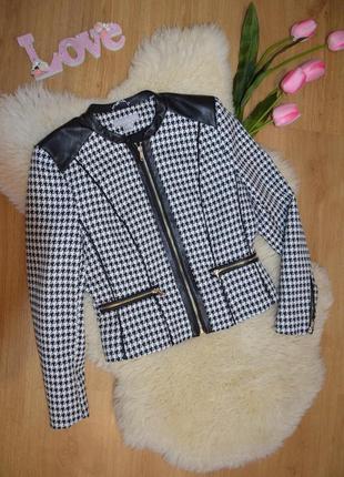 H&m как новый пиджак на замке со вставками эко-кожи