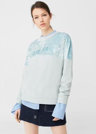 Cвитшот оверсайз с велюровыми вставками mango s(m) кофта реглан свитер