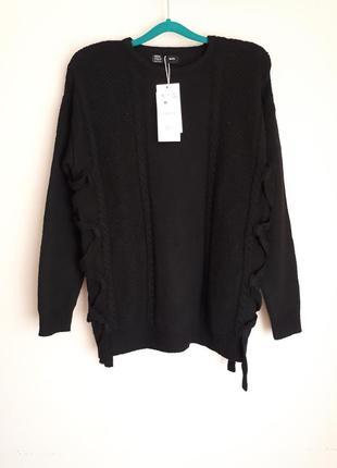 Bershka крутой, молодежный черный свитер с узором косы