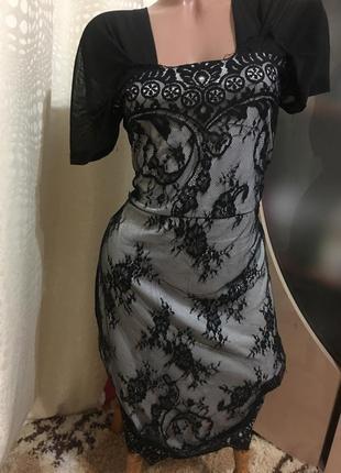 Шикарное ажурное платье gina tricot