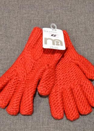 Тёплые красные перчатки mothercare на девочку 1-3 года