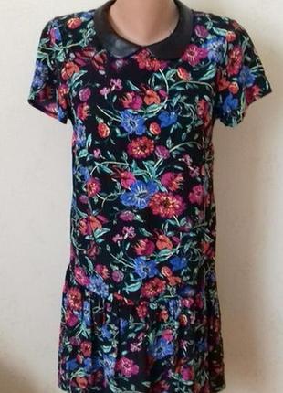 Распродажа!!!вискозное платье с принтом цветы и кожаным воротничком george