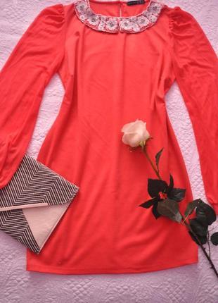 3-111 коралловое романтическое платье с воротничком(см.мерки)