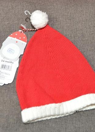 Хлопковая новогодняя шапочка mothercare на малыша 3-6 мес