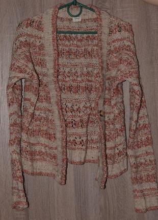 Вязаный кардиган свитер на пуговицах с поясом  размер s🌼