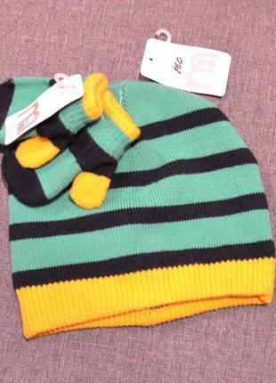 Комплект шапочка+варежки мothercare на мальчика