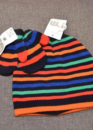 Комплект шапочка+варежки mothercare на мальчика