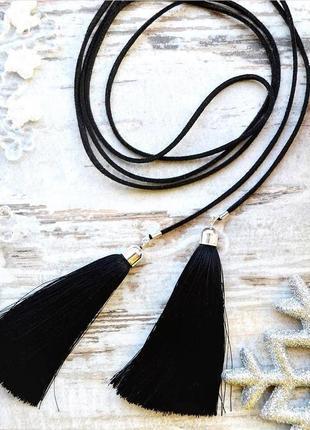 Замшевый чокер шнурок с кисточками